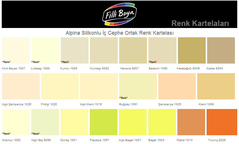 Filli Boya Renk Kataloğu Keşif 0543 716 94 82